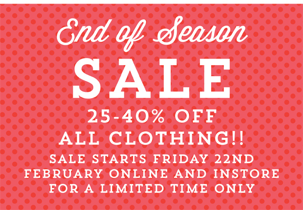 End Of Season Clothing Sale!!